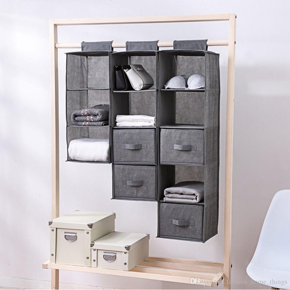 2019 5/4/3 Sections Organizer Shelves Hanging Wardrobe Shoes Garment  Organiser Storage Clothes Laundry Basket Cosmetics Storage Box From