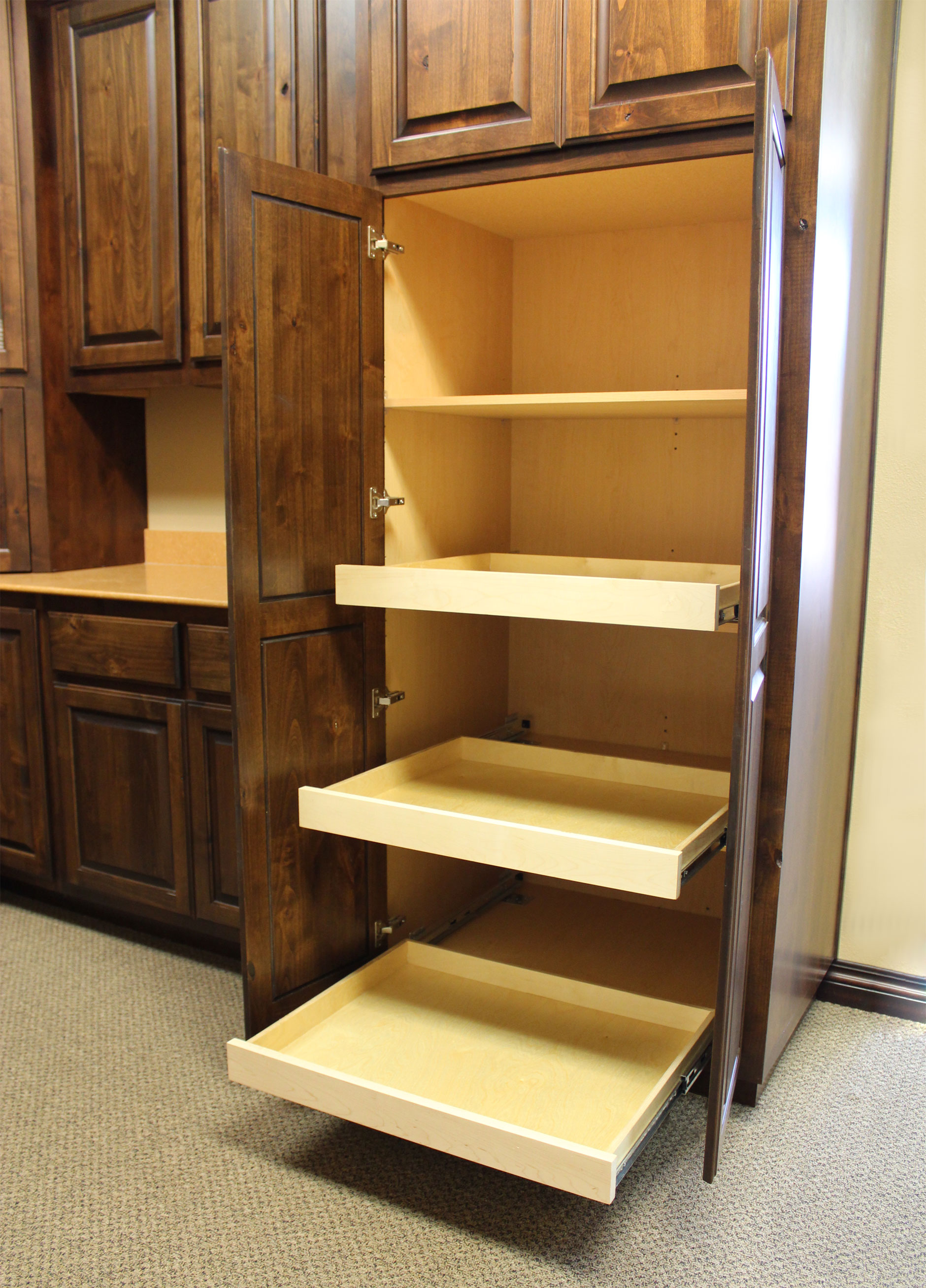 Pull Out Shelves - Burrows Cabinets - Central Texas Builder