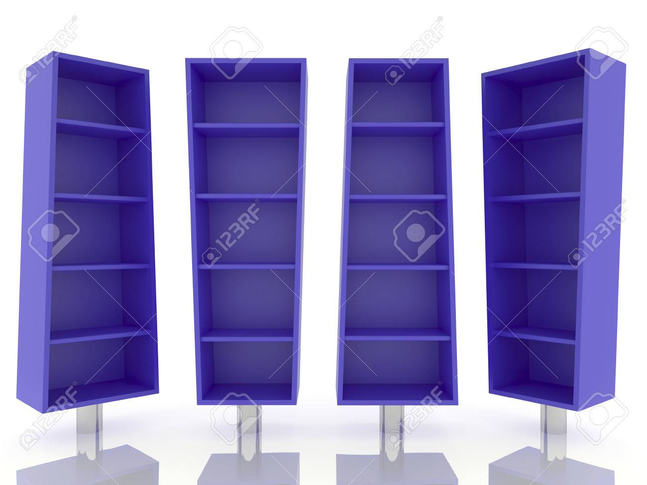 Color Blue Shelves Design On White Background Stock Photo, Picture