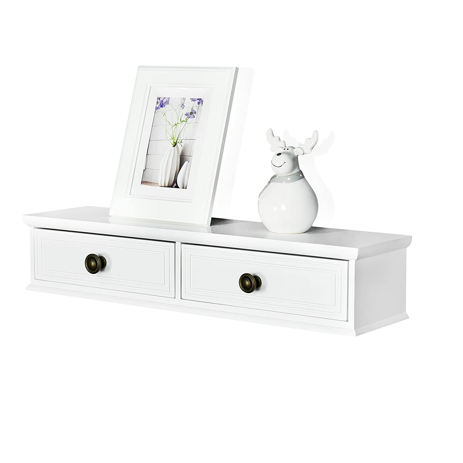 Welland Floating Shelves Wall-mounted Storage Shelf 2 Drawers Entryway  White Wall Shelf, A/v Components Other Media Accessories (245inch)