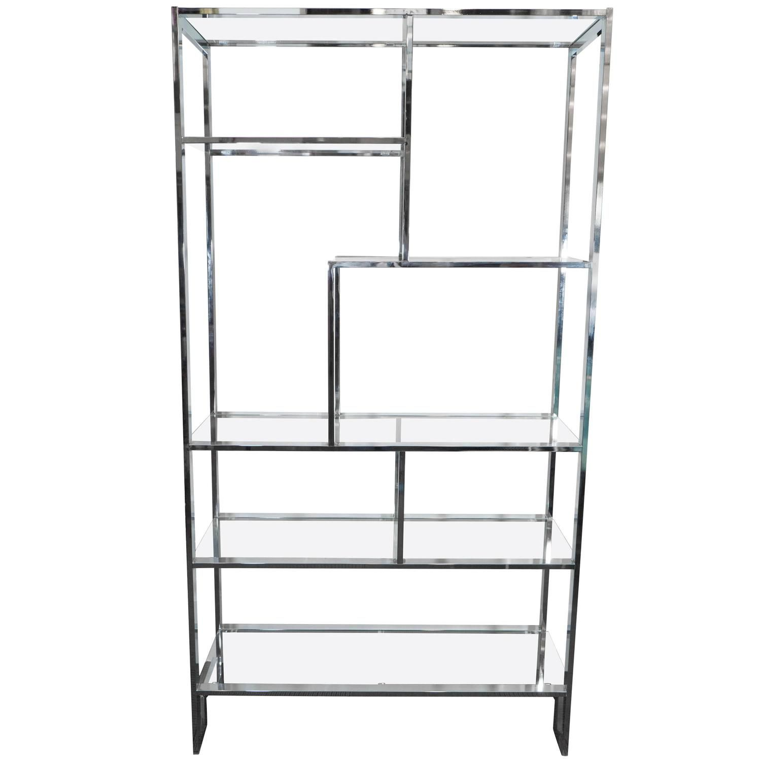 Milo Baughman Etagere In Chrome And Glass Shelves With Greek