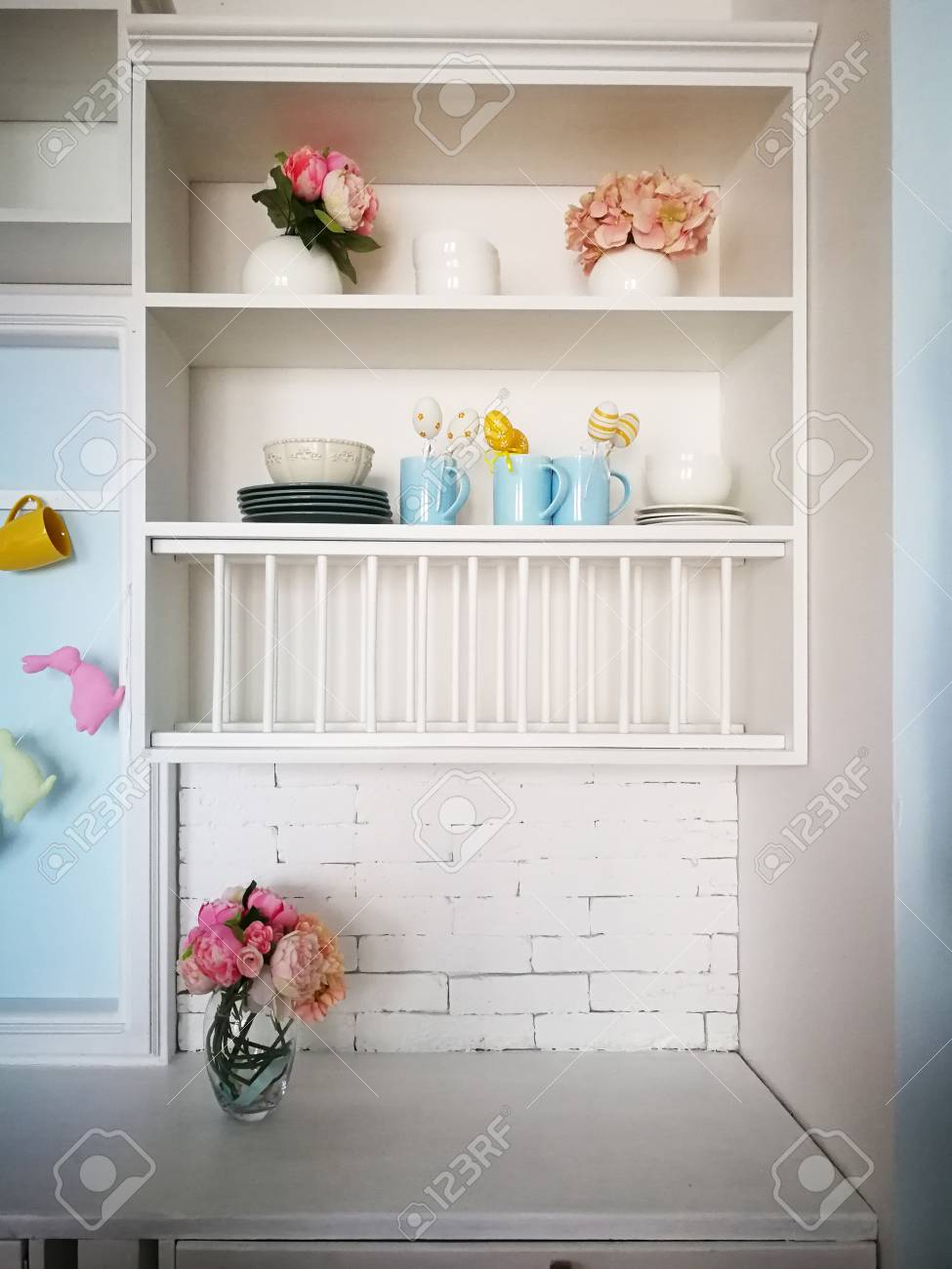 Kitchen Shelves With Easter Decor