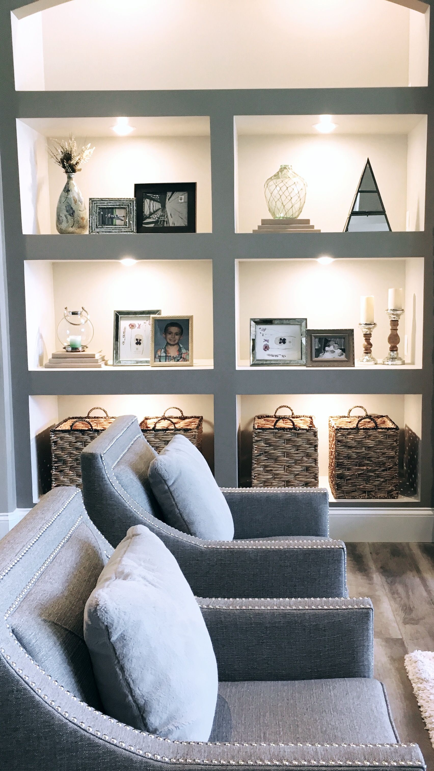 How To Decorate Deep Built-in Shelves Using Transitional Home Decor