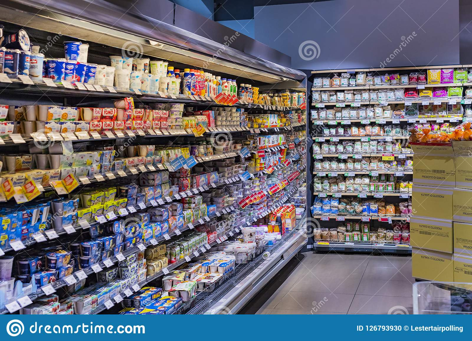 Shelves And Shelving With Products Of Drinks And Goods In