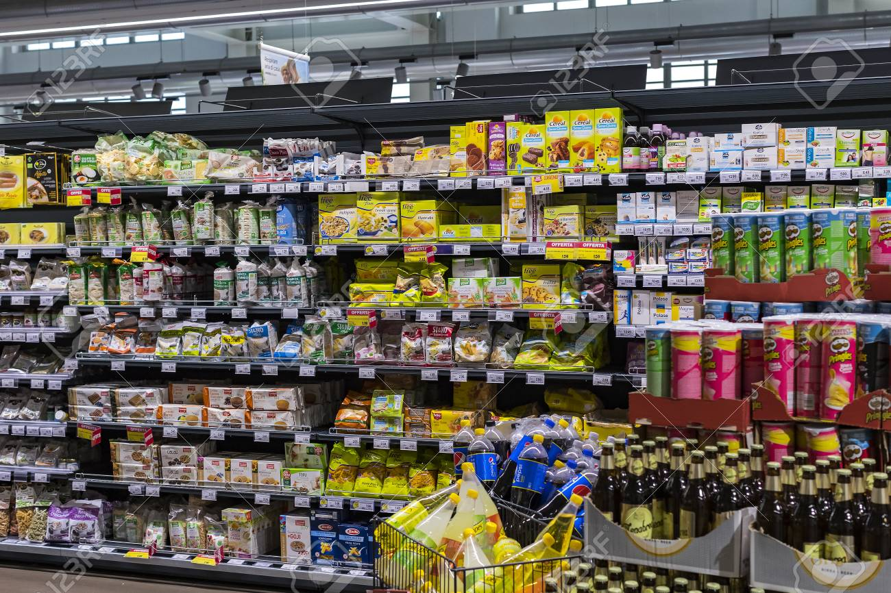 Verona, Italy - 4 September 2018: Shelves And Shelving With Products
