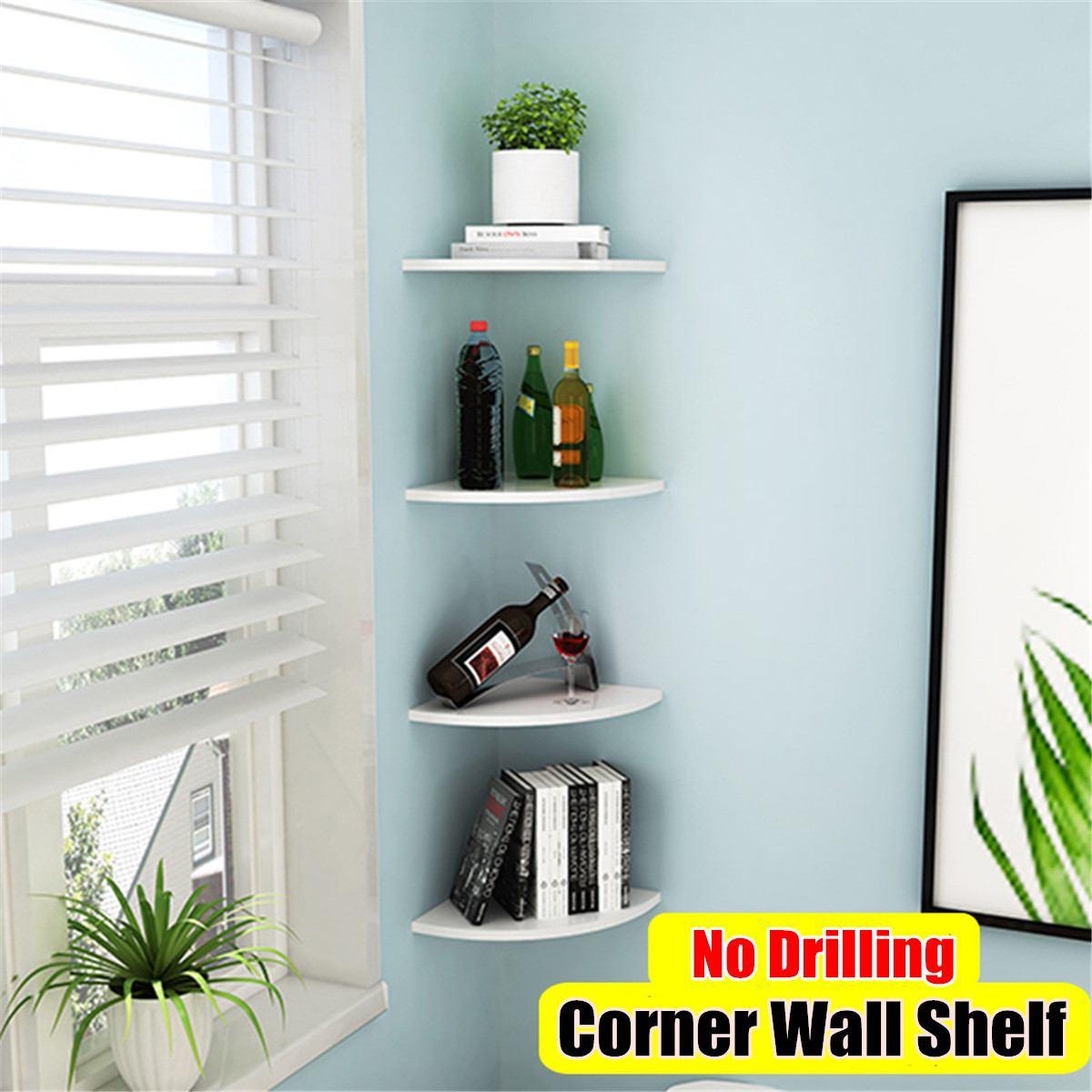 Details About Corner Wall Shelf Floating Wall Shelves Mounted Storage Rack  Display Home Decor