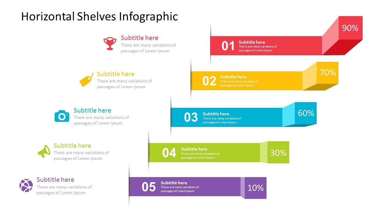 Horizontal Shelves Infographic Powerpoint Template Fully