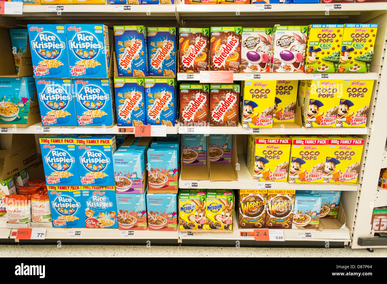 Breakfast Cereal Display On Shelves In A Sainsburys