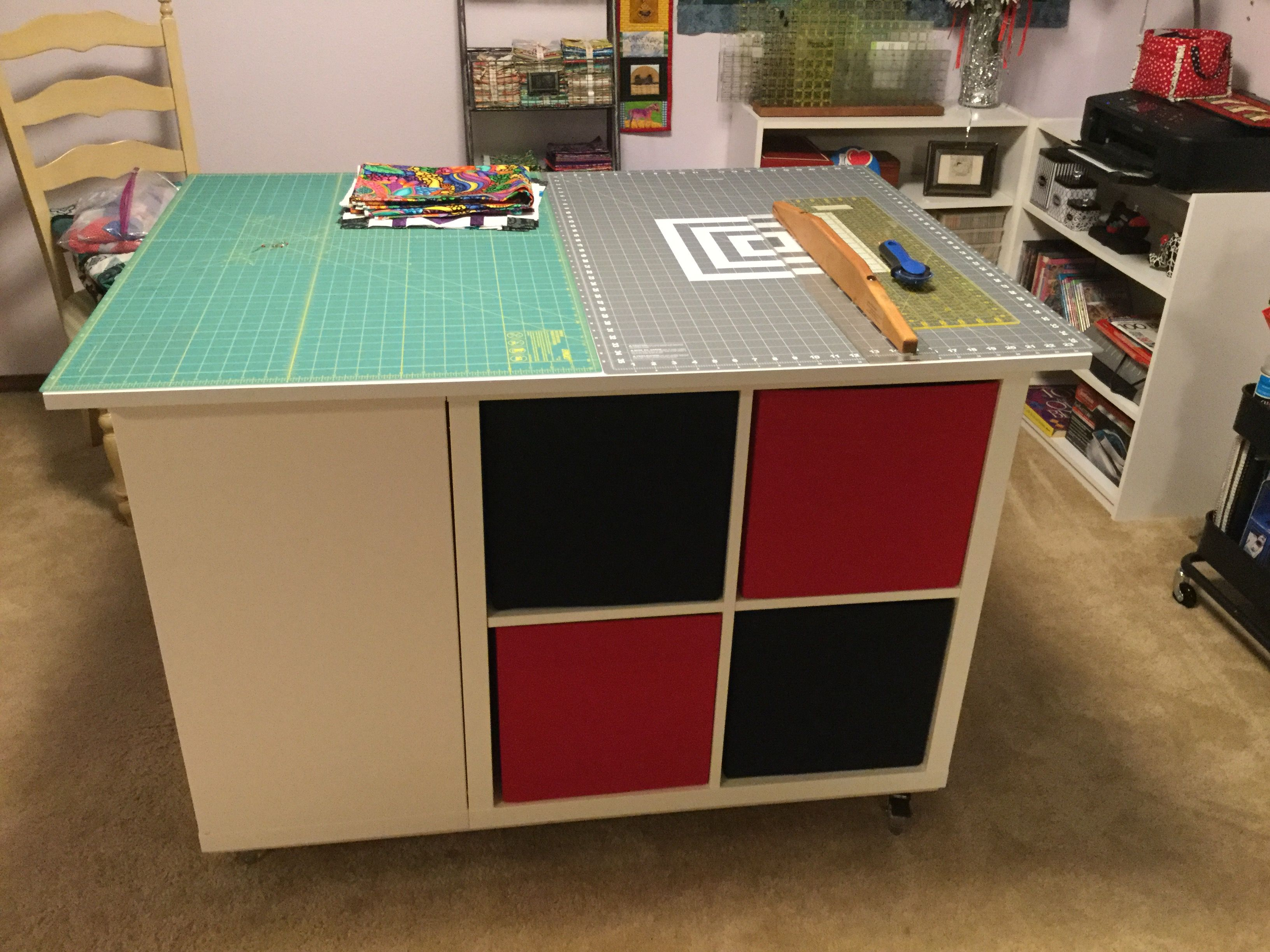 Quilters Cutting Table Made With 3 Kallex Shelves From Ikea