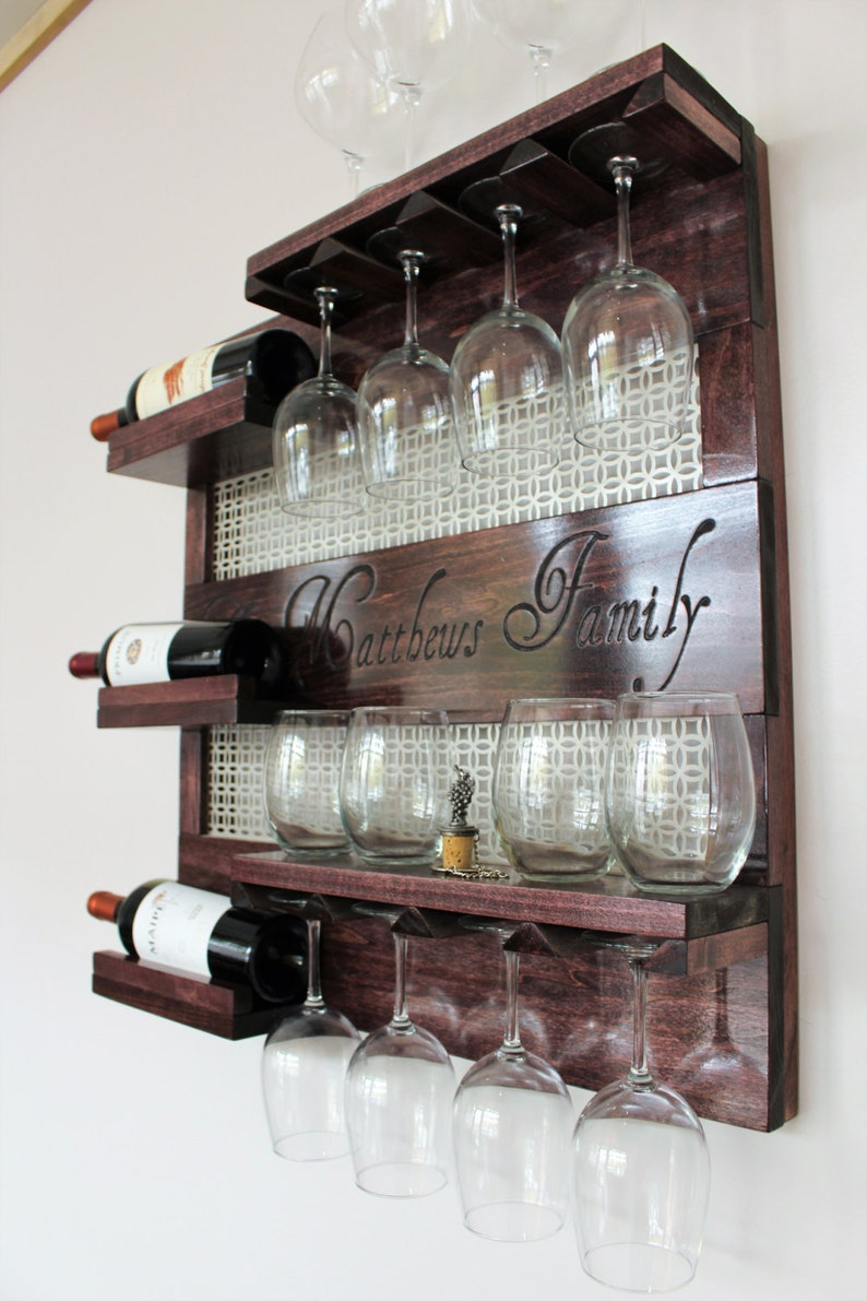 New Laser Engraved Wine Rack,stained Wall Mounted Wine Rack With Shelves  And Decorative Mesh, Wine And Liquor Shelf And Cabinet