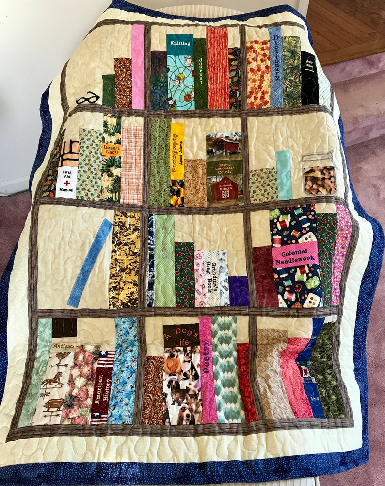 """Book Shelves Embroidered And Pieced Throw Quilt, 52"""" X 40"""""""