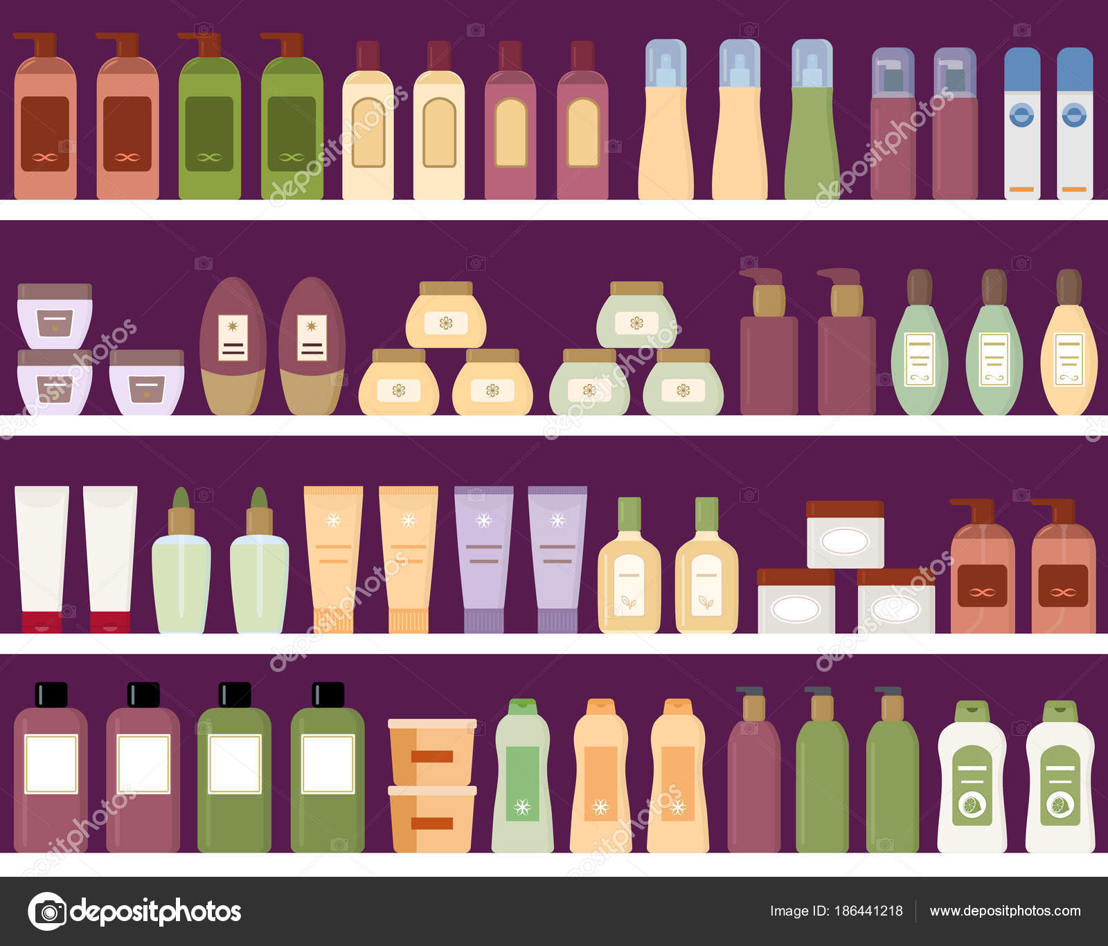 Shelves Colorful Cosmetic Products Plastic Bottles Seamless