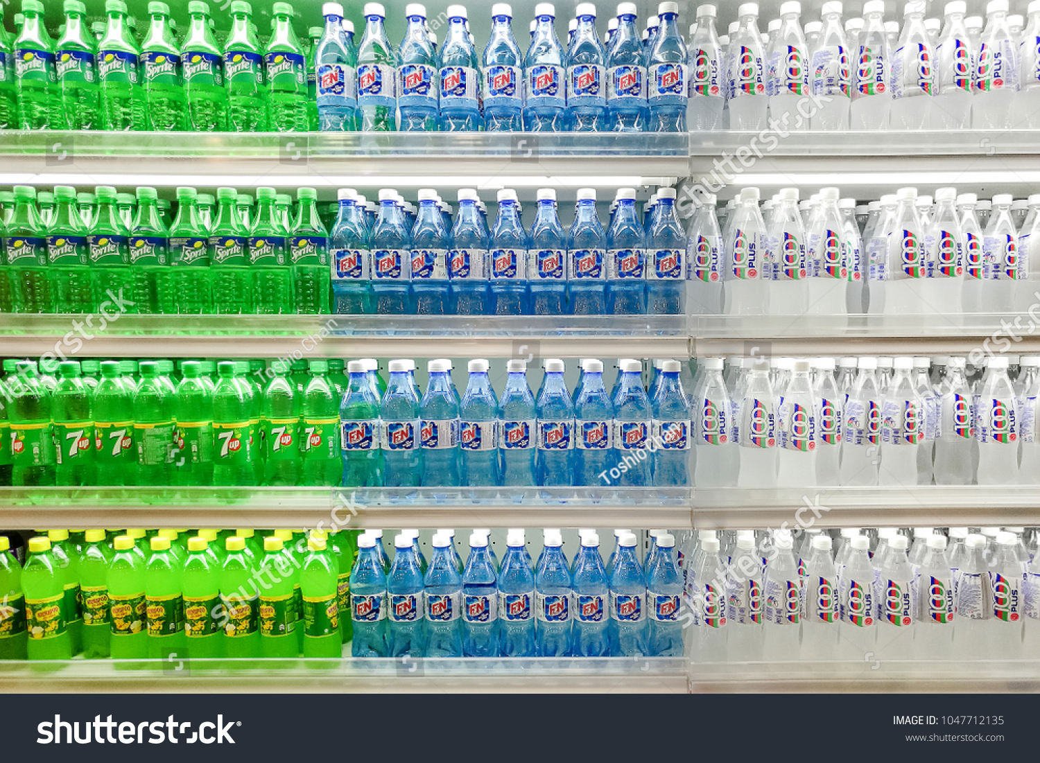 Shelves Variety Carbonate Drink Variety Colour Stock Photo