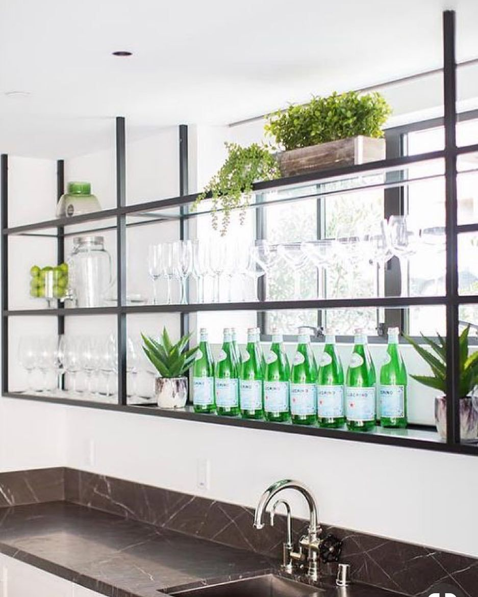 Steel Bar Shelves In 2019 | Glass Bar Shelves, Metal Kitchen