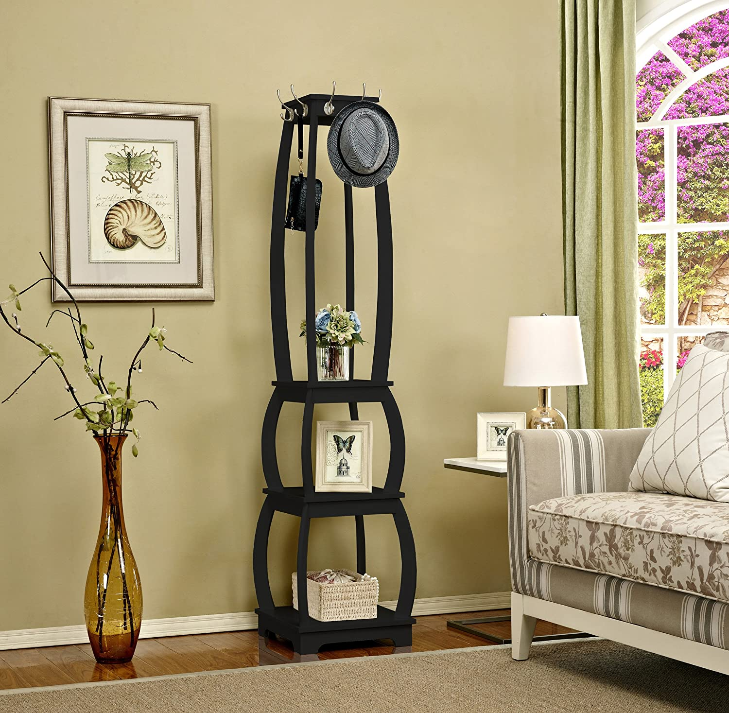 Mixcept Wooden Coat Rack Stand With 8 Hooks Entryway Hall Tree  Multi-purpose Shelves With 3 Tier Storage Shelves, Black
