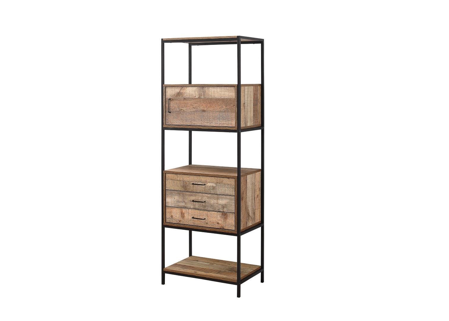 Details About Birlea Urban Industrial Chic 3 Drawer Shelving Unit Bookcase  Shelves Wood Metal