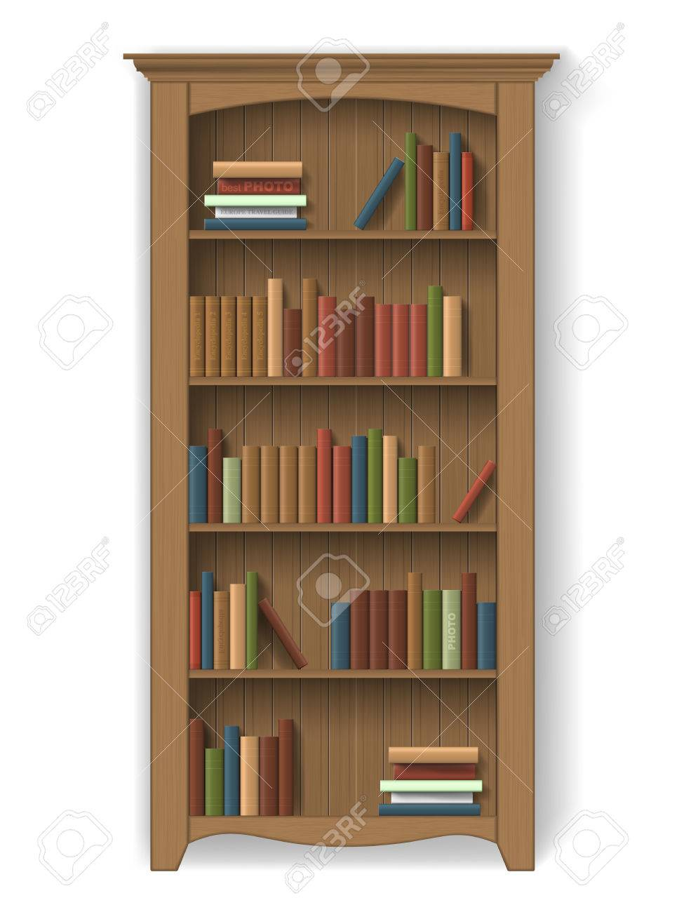 Wooden Bookcase With Books On The Shelves Furniture For Interior