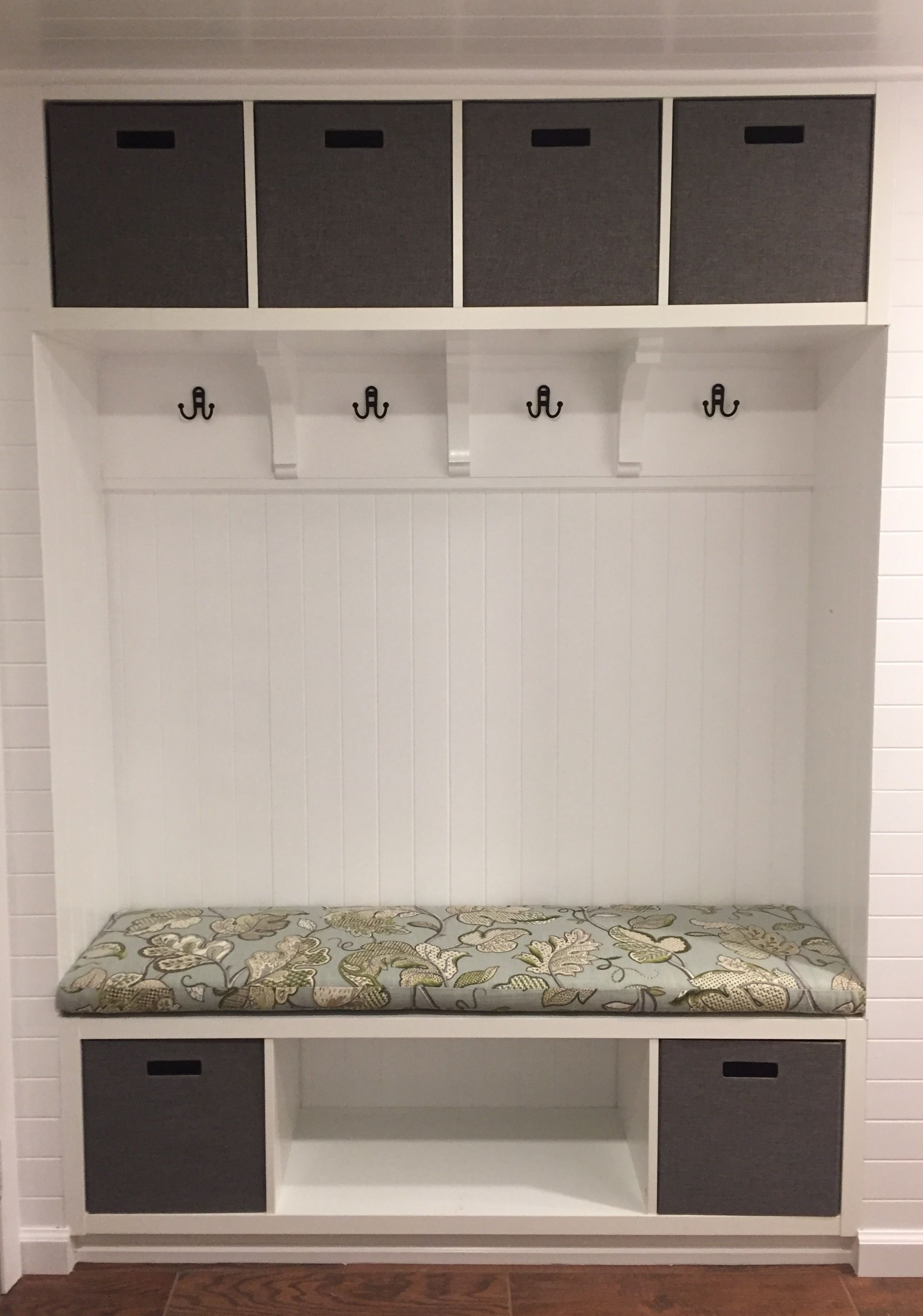 Our Ikea Hack Mudroom Bench We Used Two Kallax Shelves