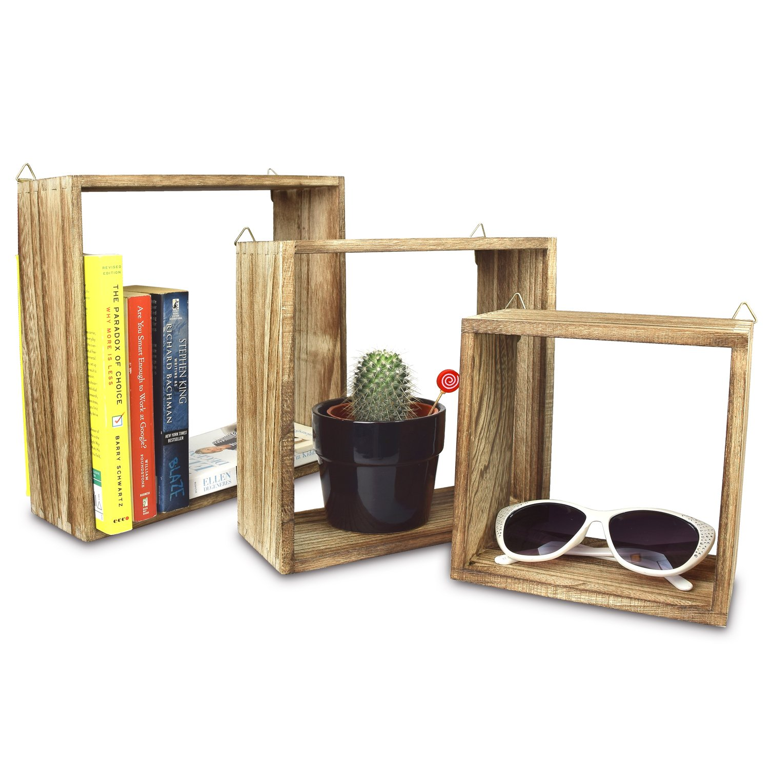 Ikee Design Wooden Square Wall Shelves, Shadow