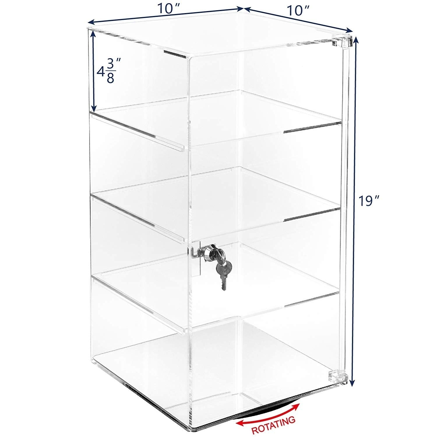 Ikee Design Rotating Acrylic Display Stand Lockable Showcase Display Case  With 3 Removable Shelves