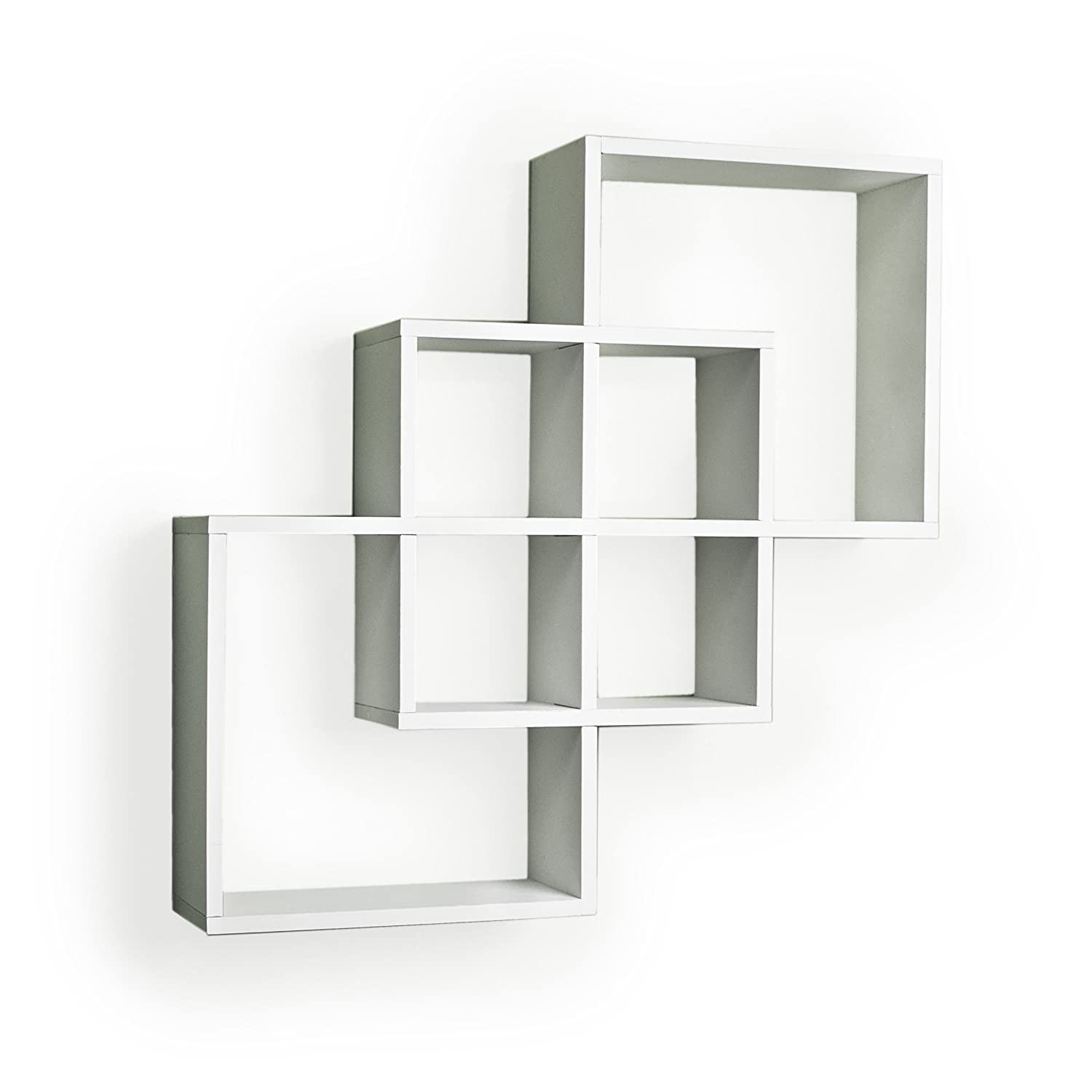 Danya B Ff6013w Decorative Contemporary Floating Intersecting Square Cube  Wall Shelves- White