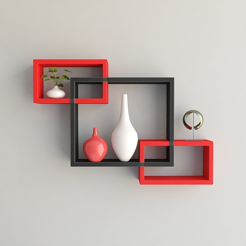 Custom Decor Wall Mounted Shelf Set Of 3 Floating Intersecting Storage  Display Wall Shelves -(red & Black)
