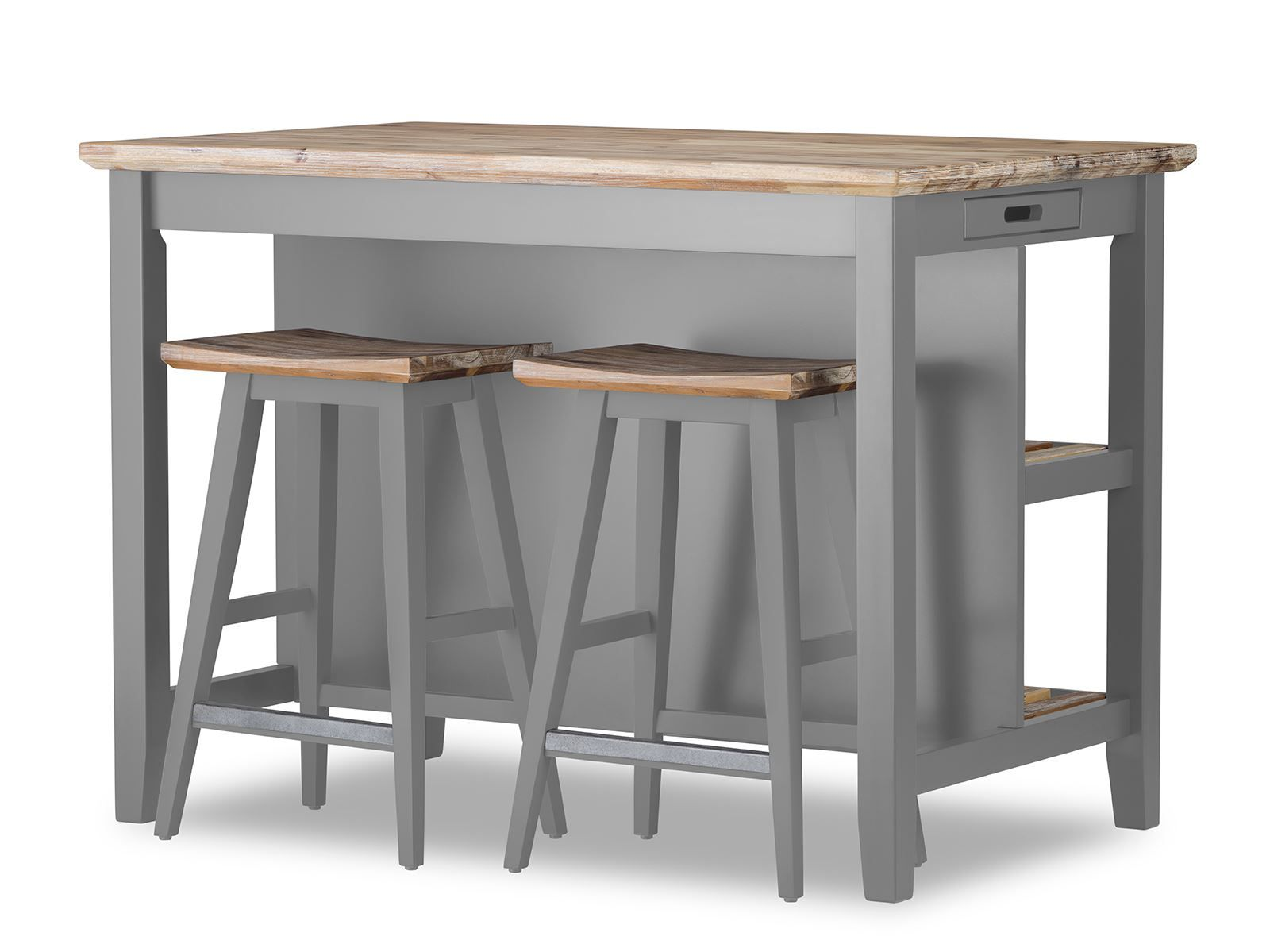 Details About Florence Breakfast Bar With 2 Large Shelves