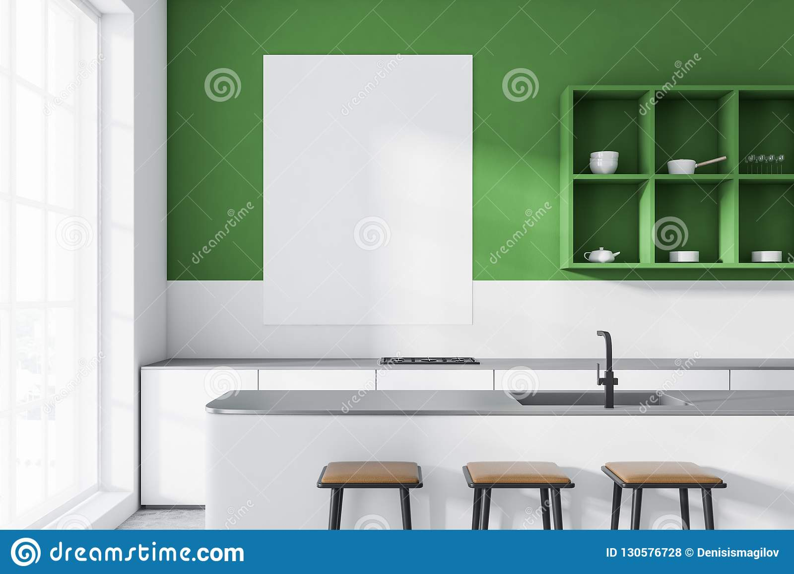 Green Kitchen With Bar And Shelves, Poster Stock