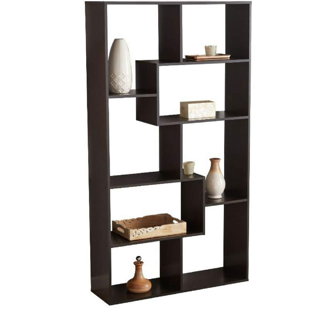 Bs Open Shelf Bookcase Stylish Brown Freestanding Cube Shelving Unit With  Asymmetrical Shelves Home Office Additional Storage Furniture Contemporary