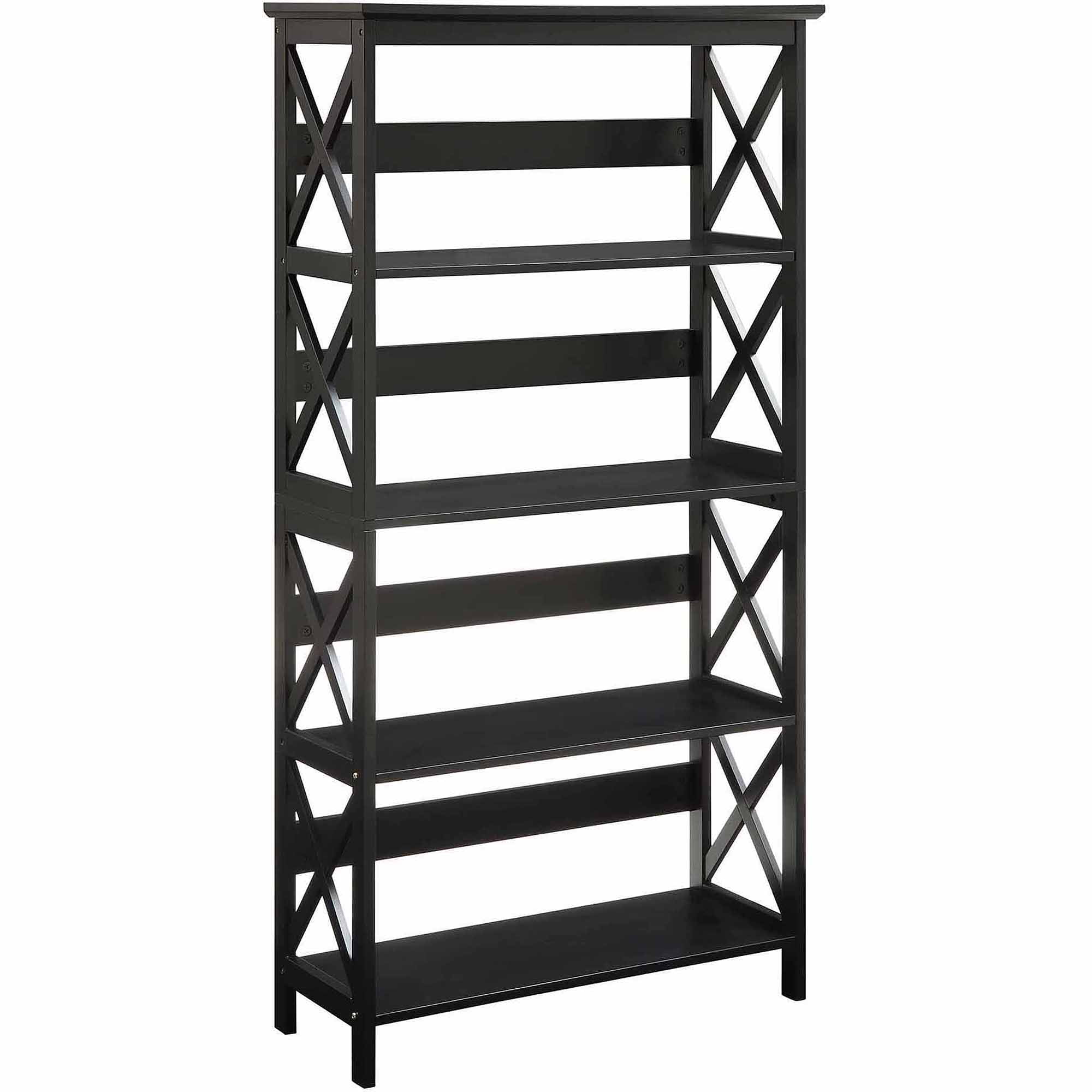 Details About Black Open Shelf Bookcase Wood Backless Display Shelves Rack  Stand Small Library