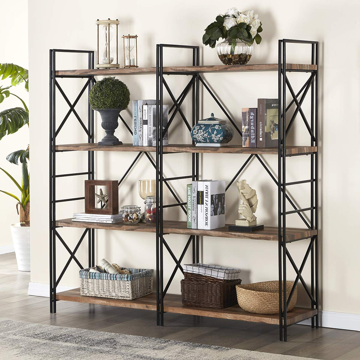 Homissue 4 Shelf Industrial Double Bookcase And Book Shelves, Storage Rack  Display Stand, Etagere Bookshelf With Open 8 Shelf, Retro Brown, 642-inch