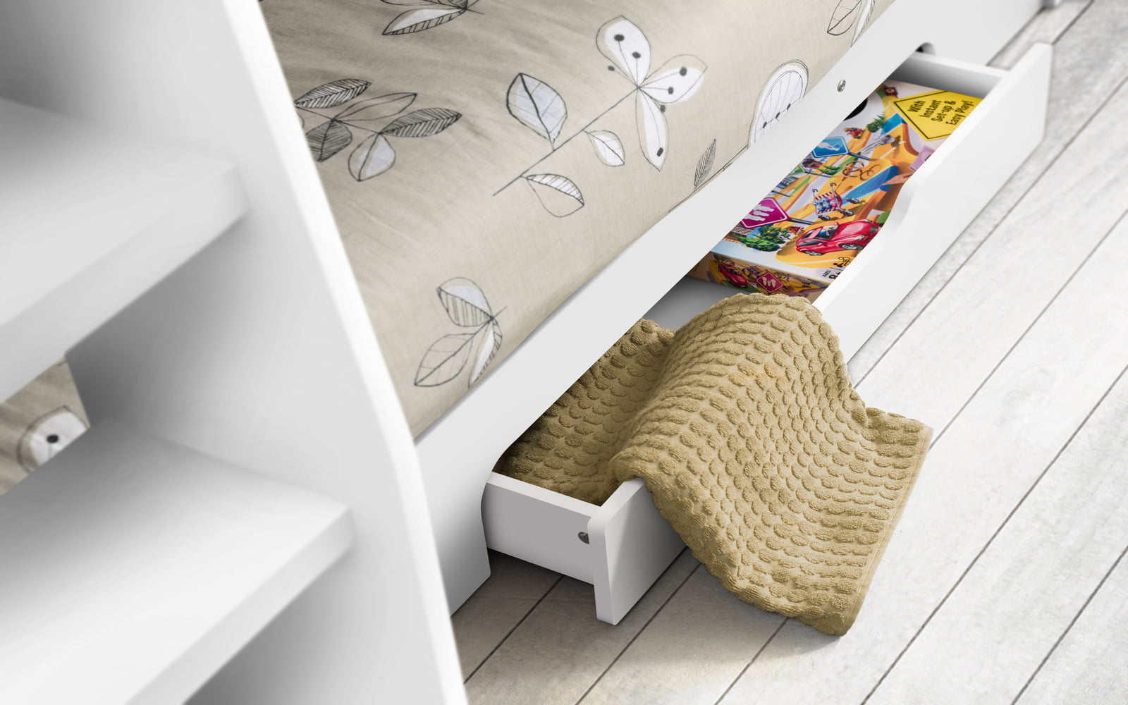 Orion Bunk Bed In White: Bunk Bed With Shelves | €495 On