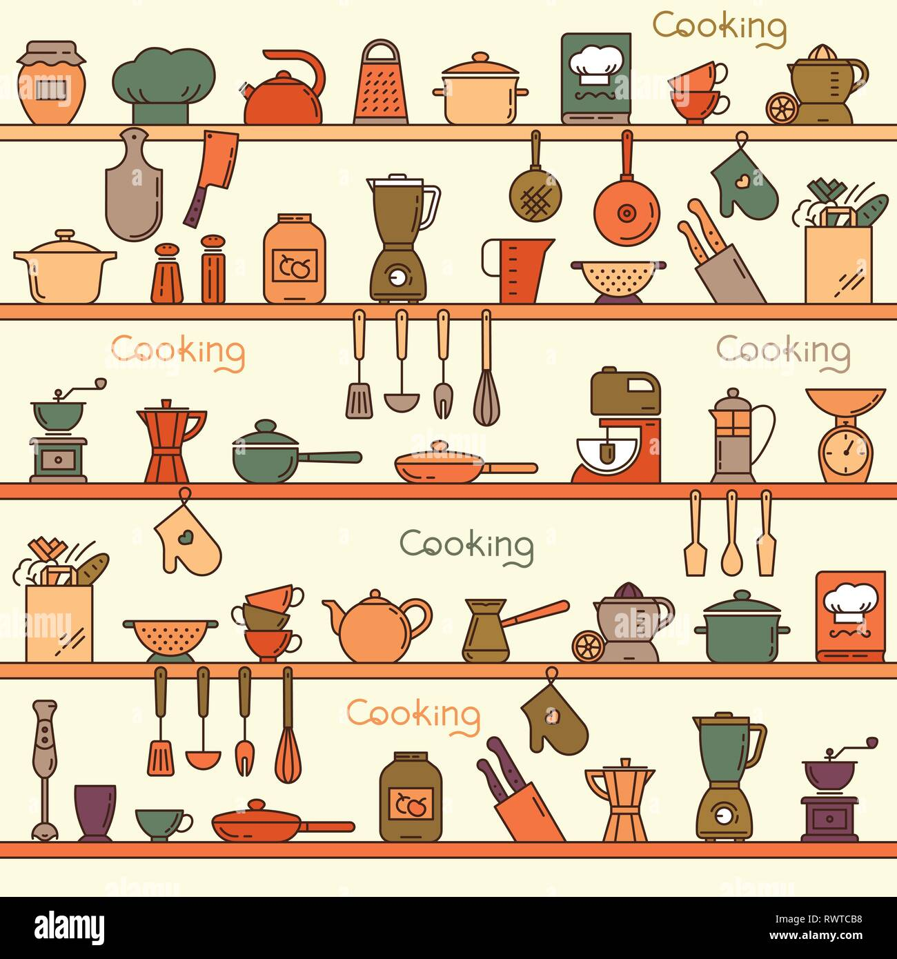 Seamless Pattern With Kitchen Shelves Full Of Various