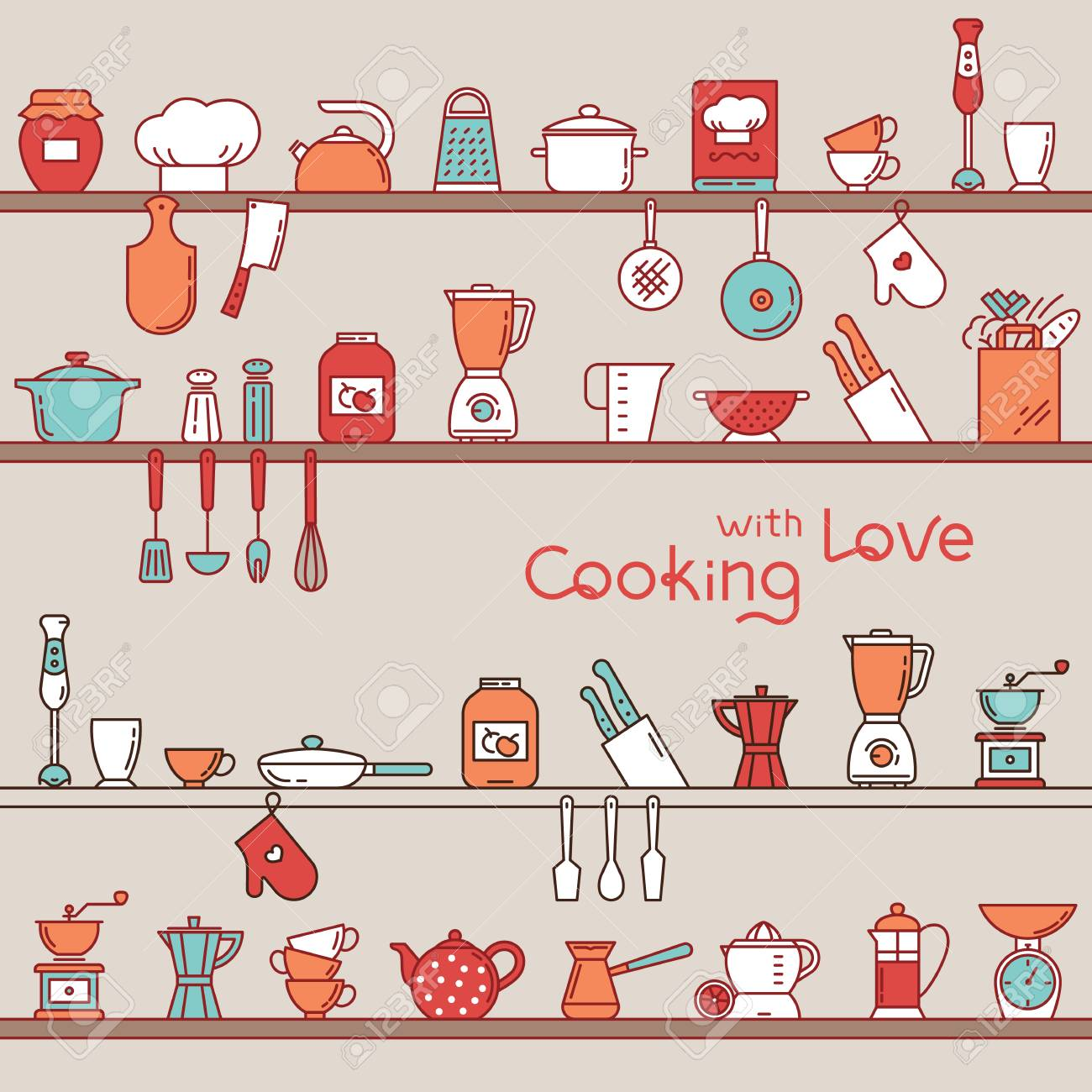 Seamless Horizontal Pattern With Kitchen Shelves Full Of Various