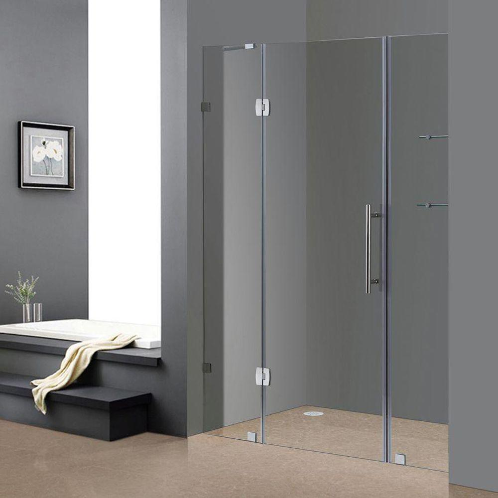 Aston Soleil 60 In X 75 In Completely Frameless Hinged Shower Door In  Chrome With Glass Shelves