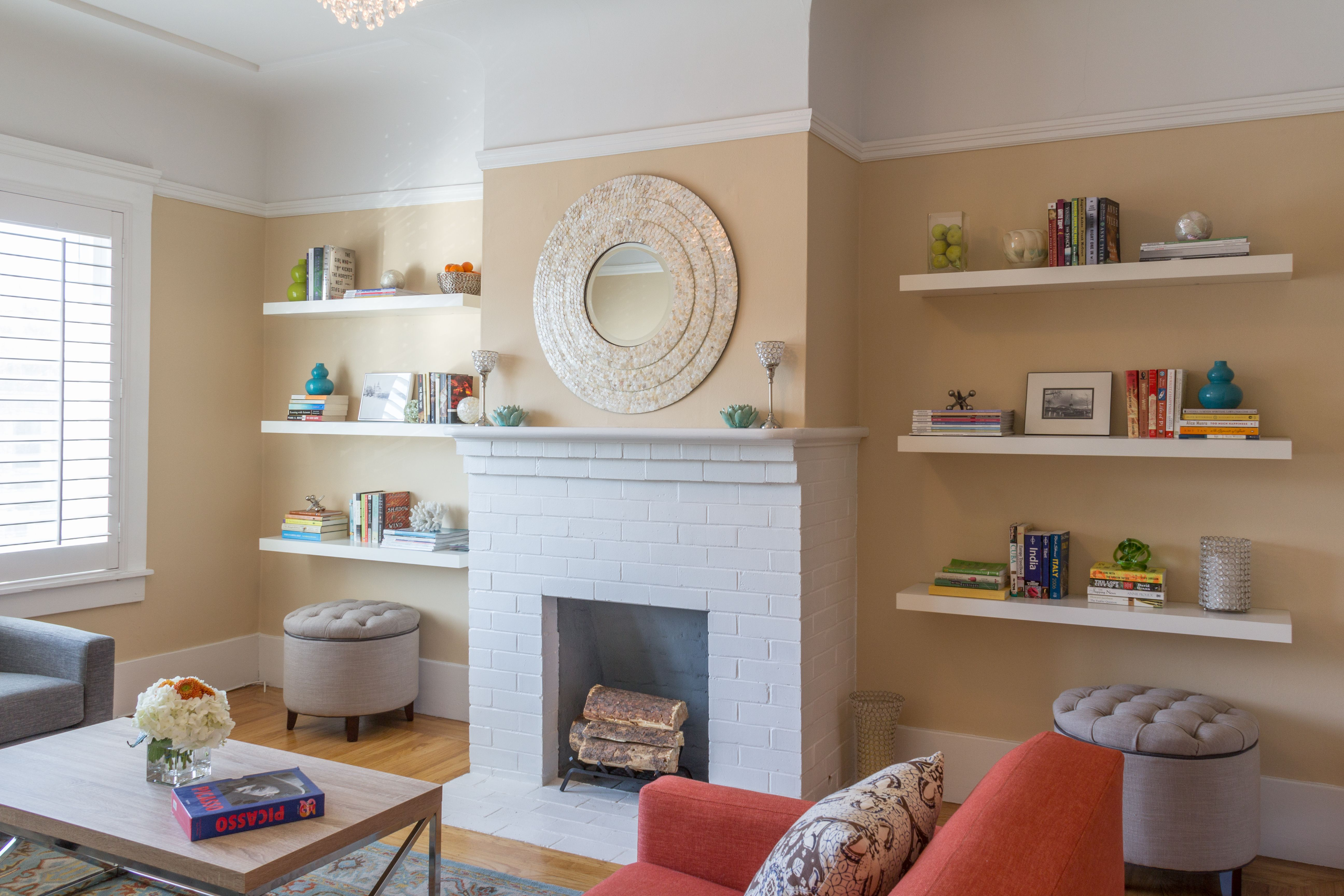 Floating Shelves On Both Sides Of The Fireplace Give A Sense