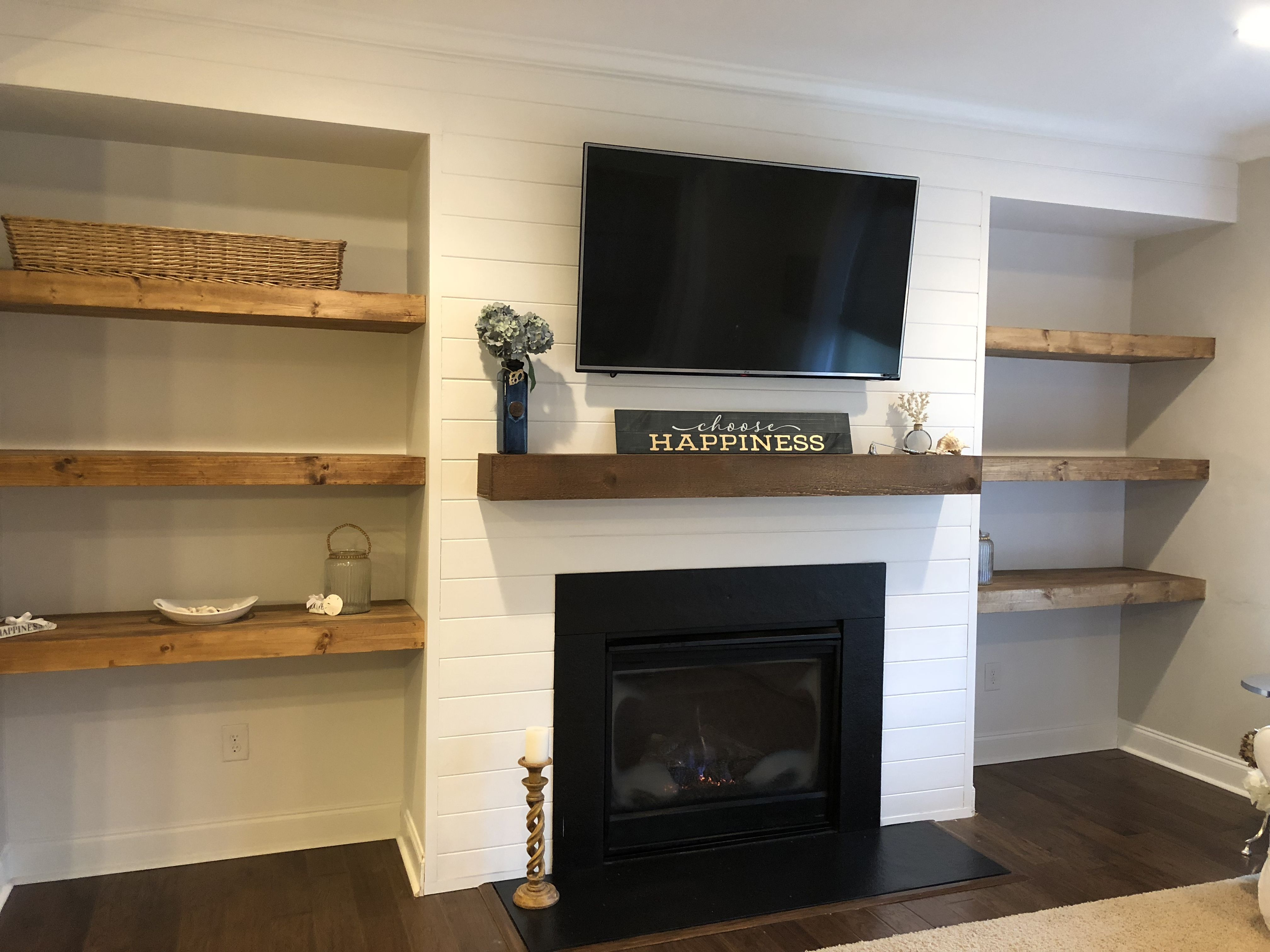 Shiplap Wall With Floating Shelves And New Mantle Around