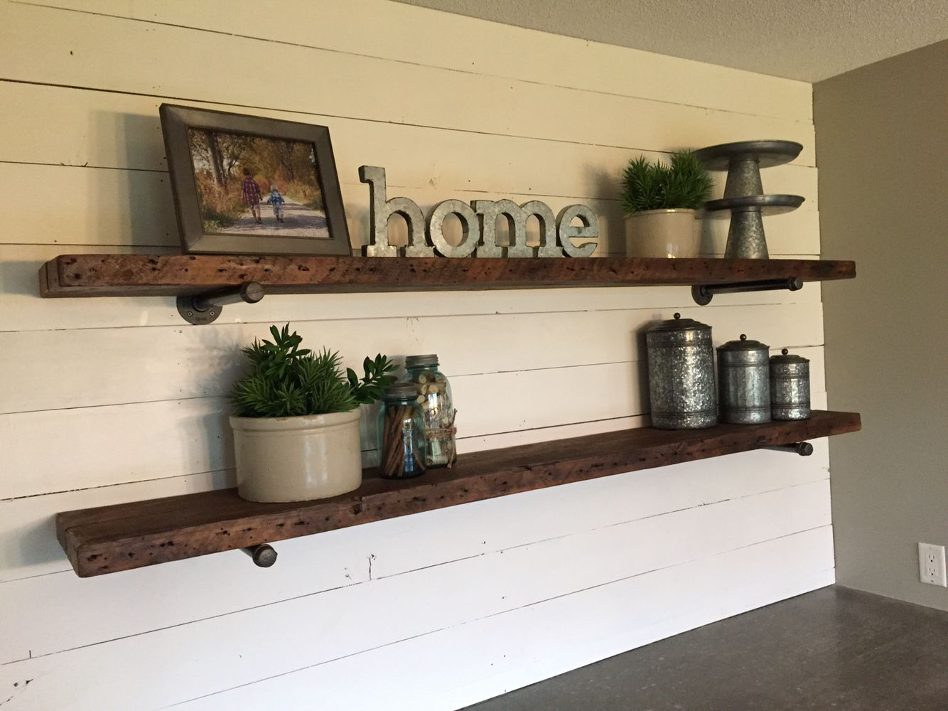 Floating Shelves And Shiplap Wall In 2019   Ship Lap Walls