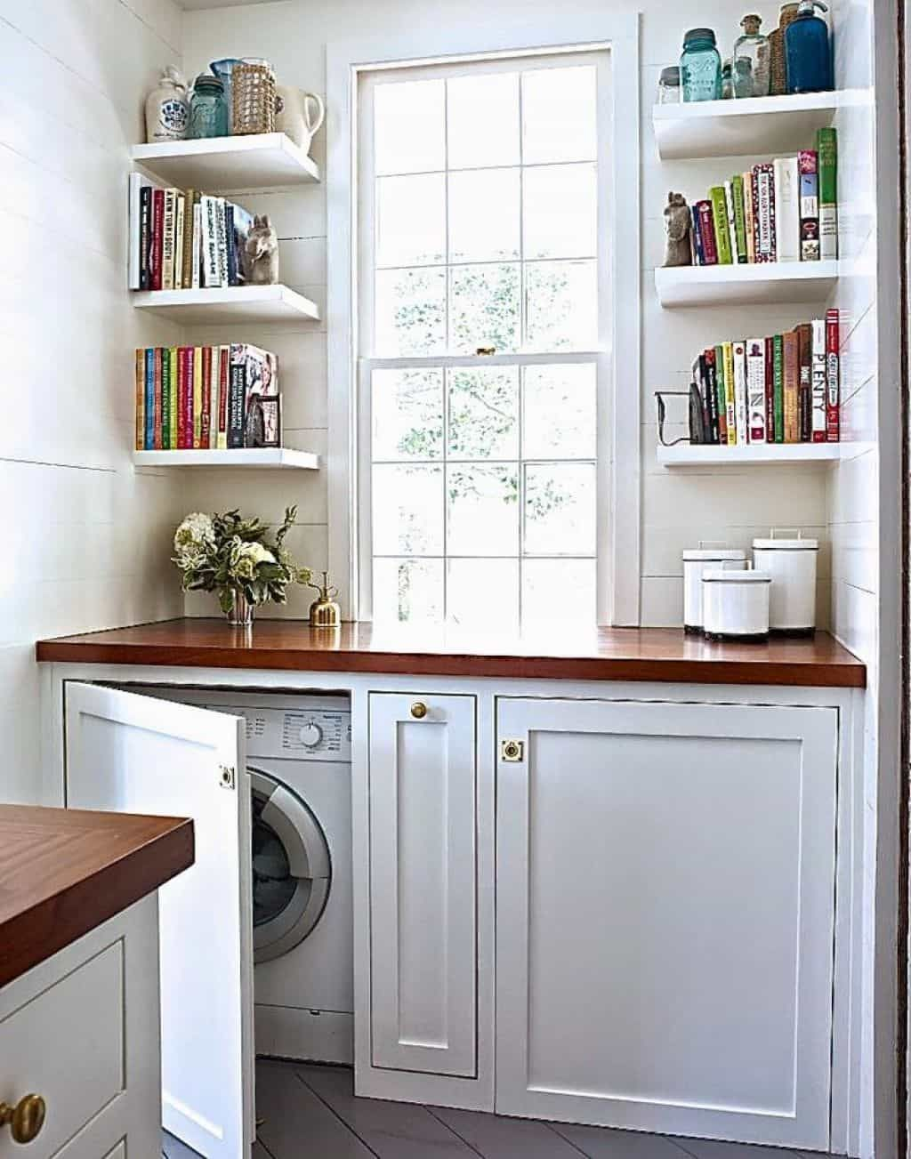 This Laundry Room Organized With Corner Wall Shelves