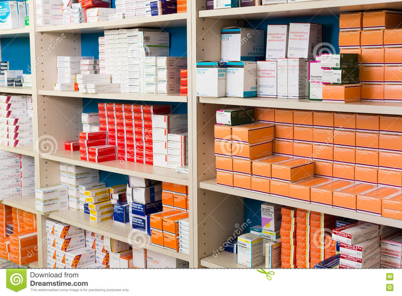 Variety Of Pharmaceutical Products And Medicine In Shelves