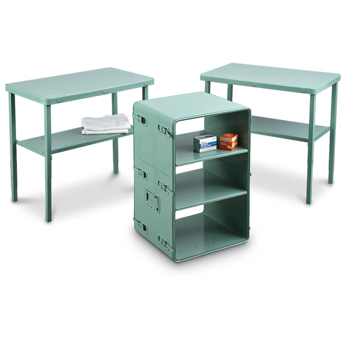 Details About Us Military Surplus Medical Supply Tables With Shelves  Vintage Green, Used