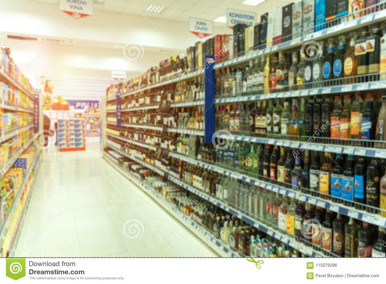 View Of Shelves With Blurry Products Stock Photo - Image Of