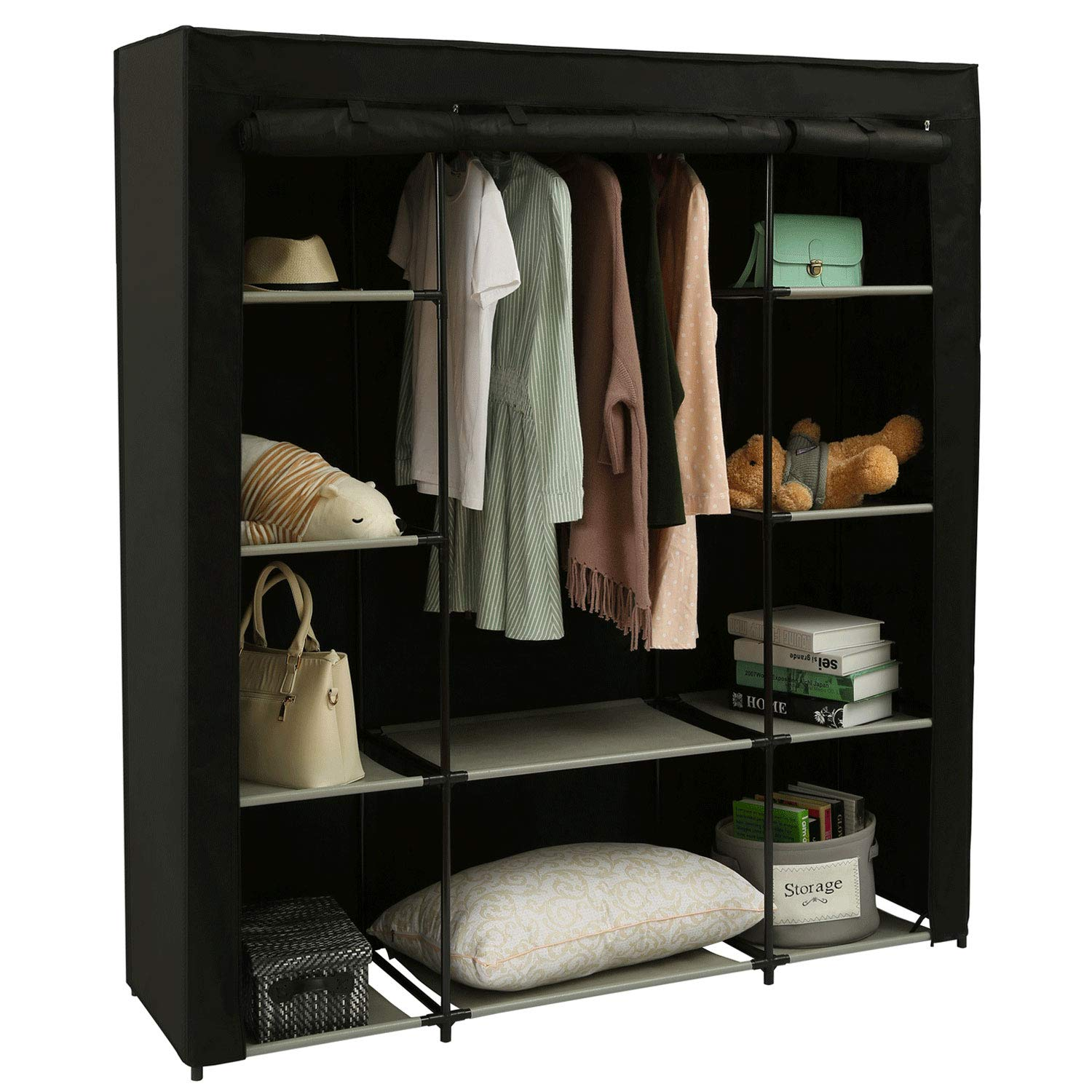 Homebi Clothes Closet Portable Wardrobe Durable Clothes Storage Organizer  Non-woven Fabric Cloth Storage Shelf With Hanging Rod And 10 Shelves For