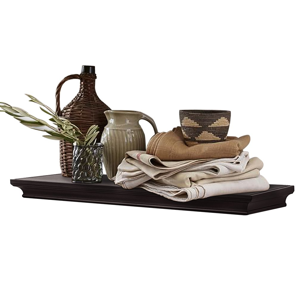"""Ahdecor Deep Floating Shelves Display Ledge Shelf With Invisible Blanket  24"""", Espresso Brown"""