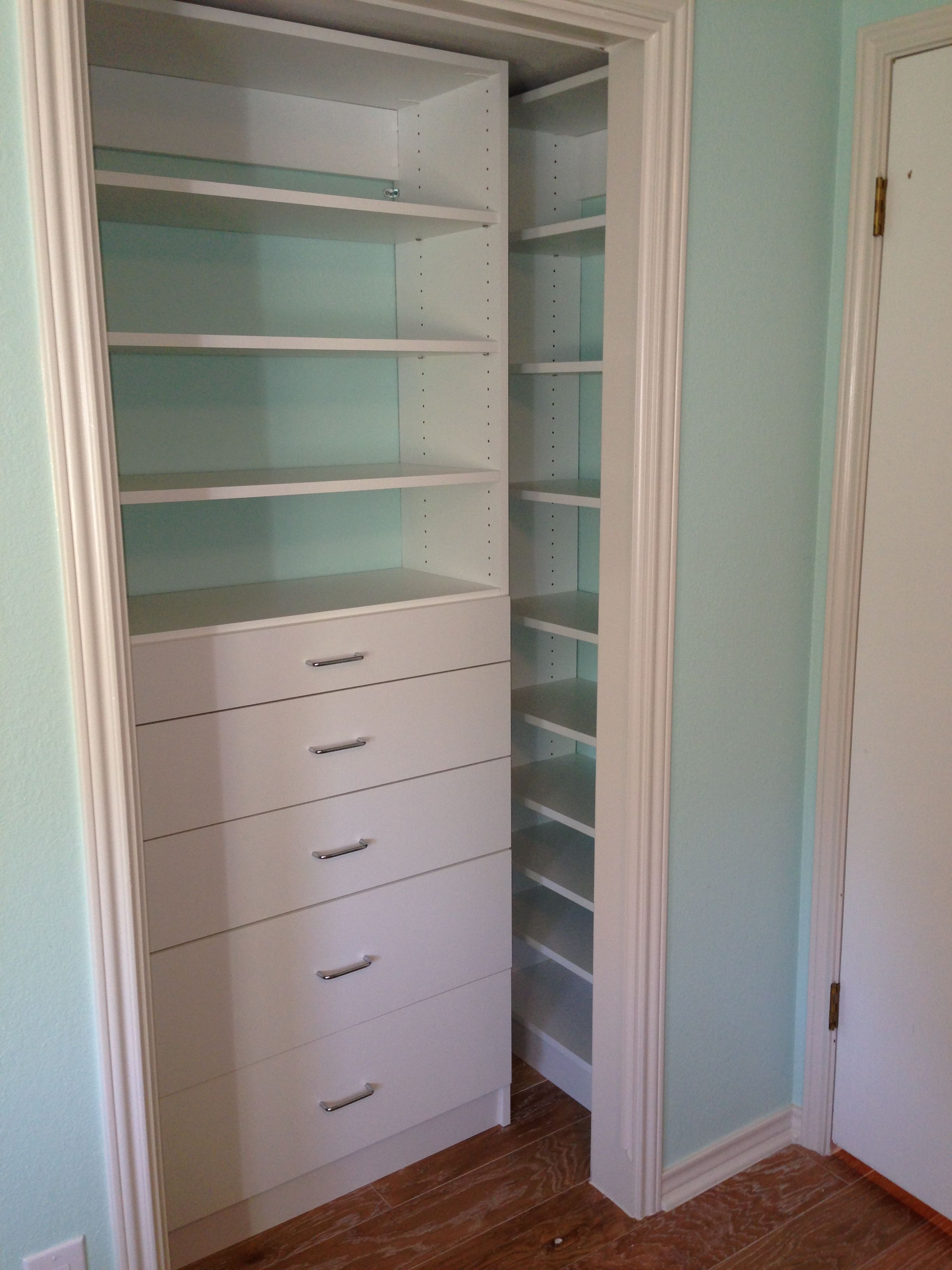 Reach In Closet System With Drawers And Shelves Wide