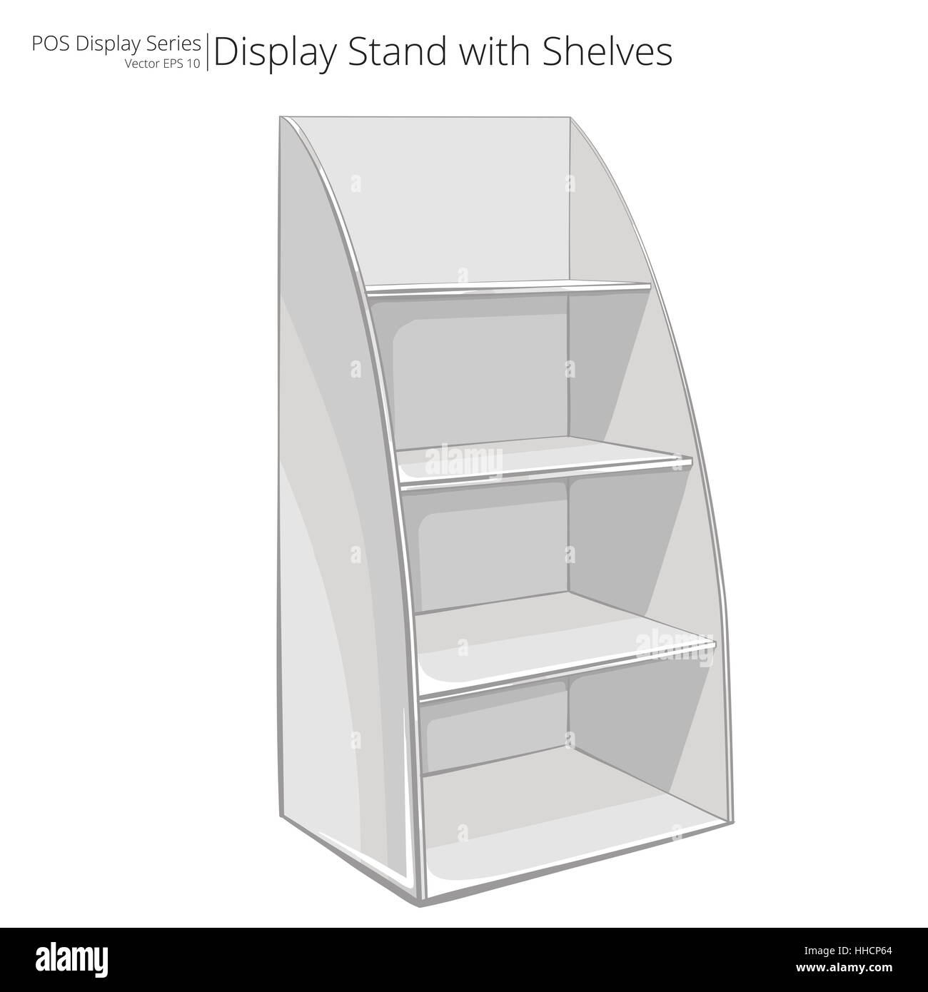 Vector, Illustration Of A Display Stand With Shelves Sketch