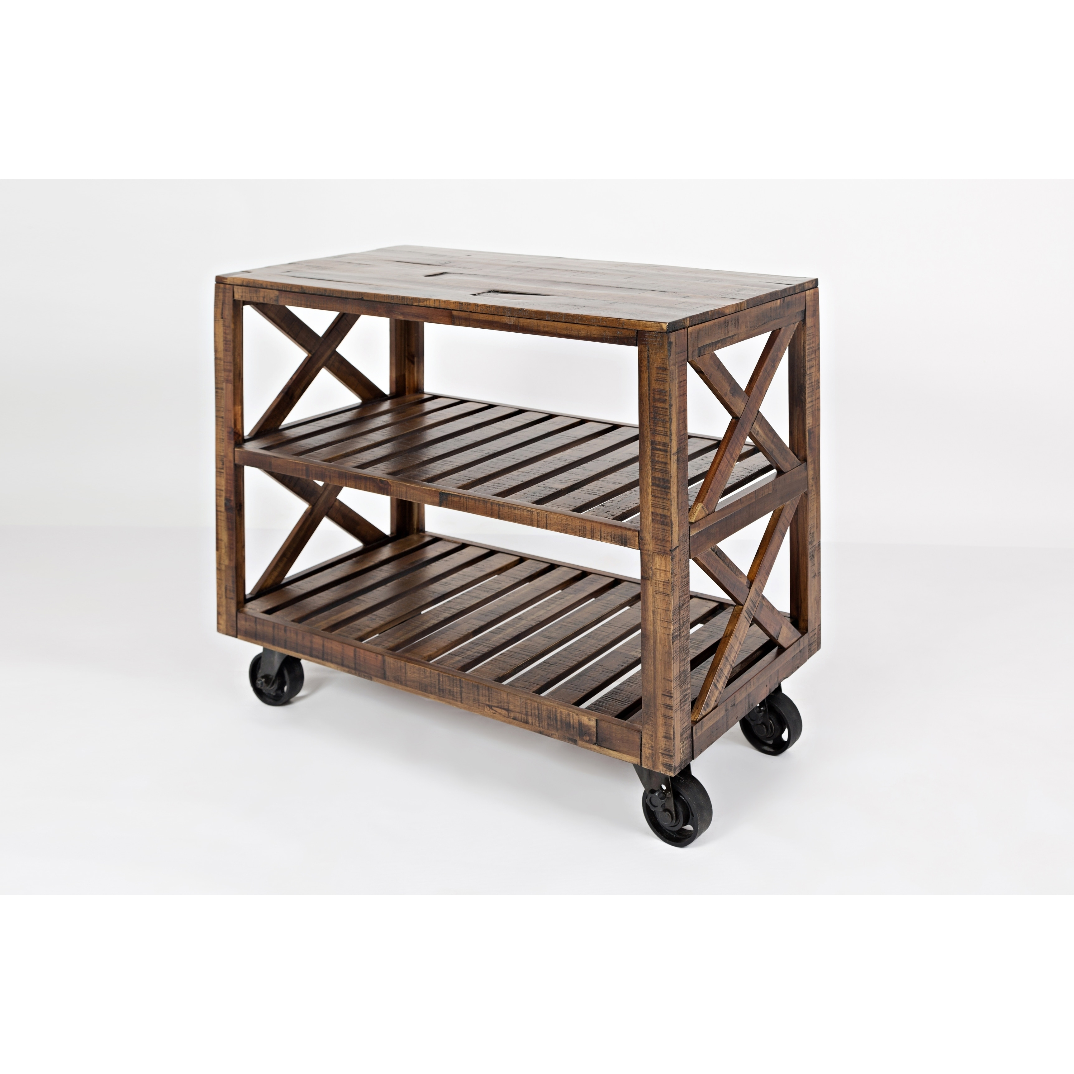 Solid Wood Trolley Cart With Two Slatted Shelves, Brown