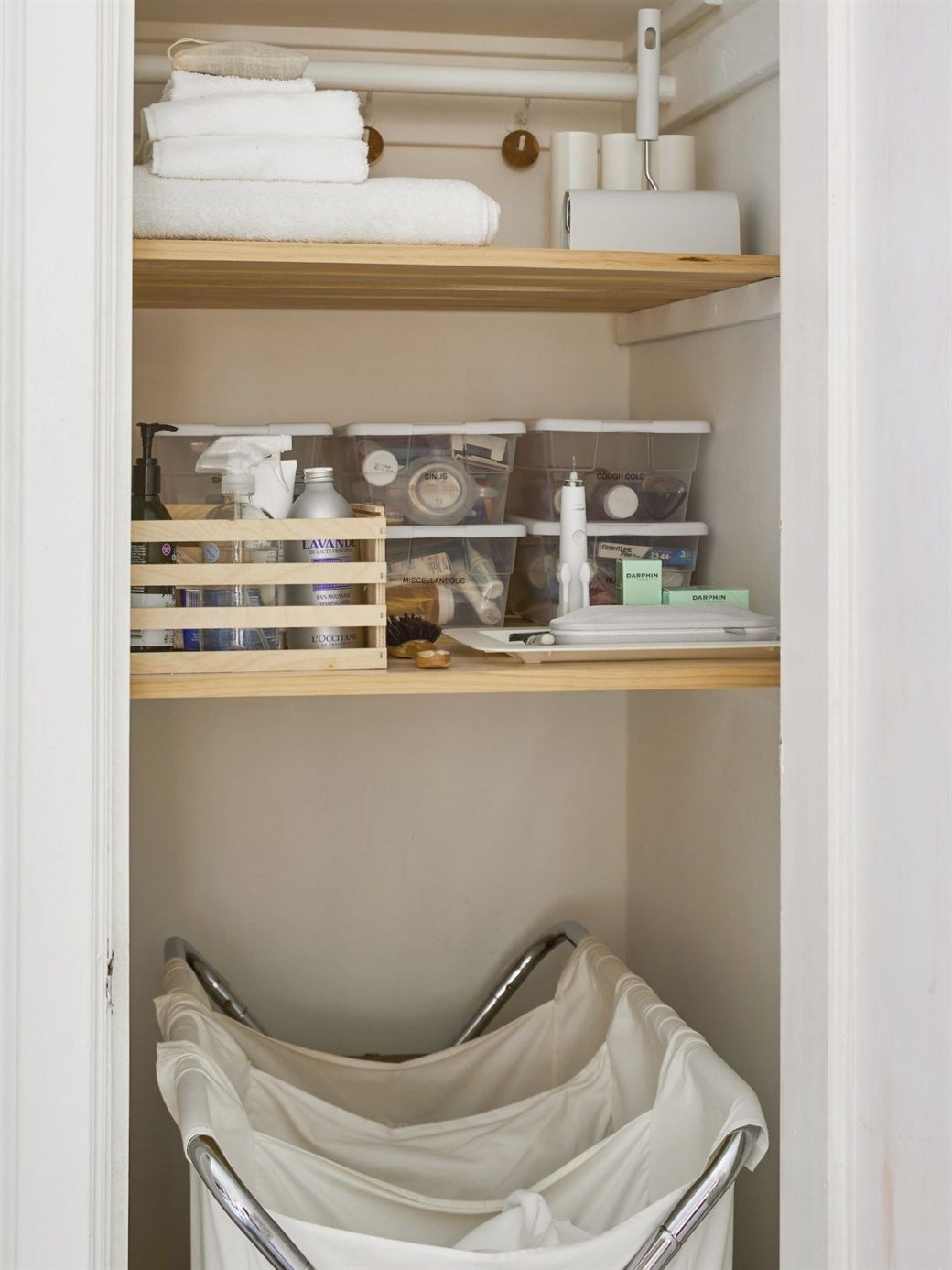 Slatted Shelves In Linen Closets Allow Linens To Breathe