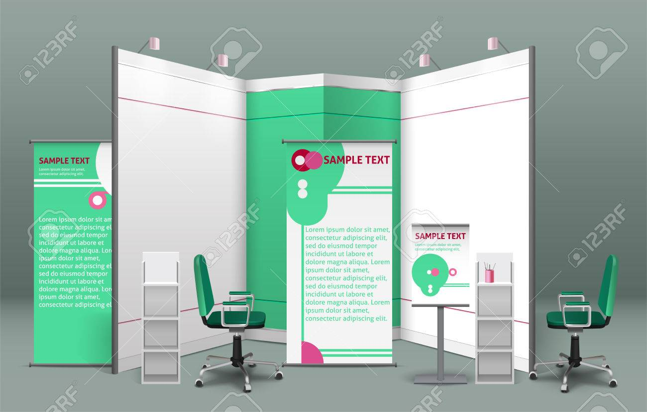 Exhibition Stand Concept With Billboards Shelves Booths Displays