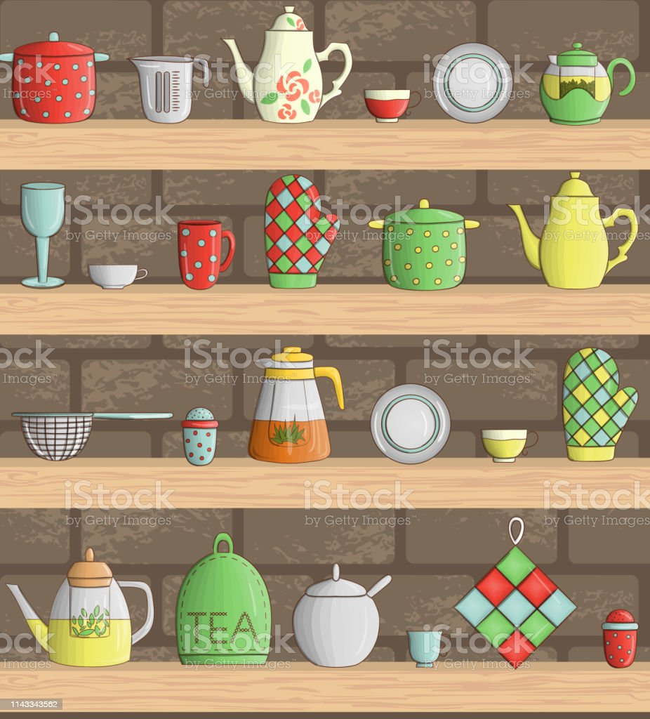 Vector Set Of Colored Kitchen Tools On Shelves With Brick